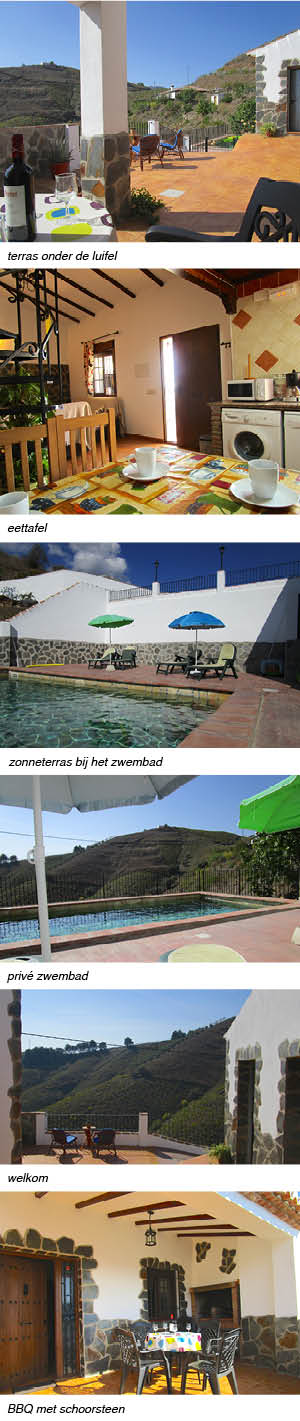 Casa Carmelita, indeling van het vakantiehuis in Andalusie strip rechts
